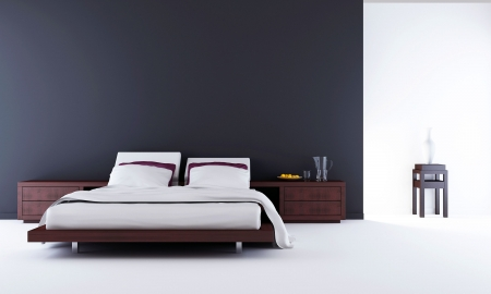 minimalistic: Living Room Setting - bed to face a blank wall Stock Photo