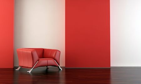 red leather armchair to  face a blank white wall - with parquet - left side of view