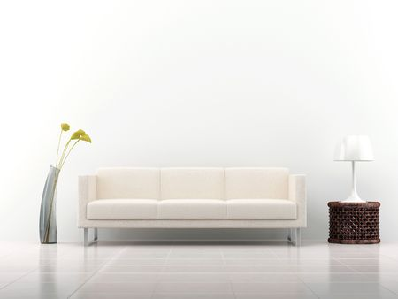 couch: White leather Couch to face a blank white wall - with rack and vase - front view