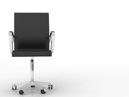 modern black office chair - isolated on white - left side of view photo