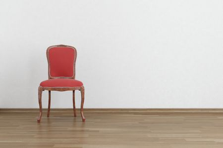 red baroque Chair to  face a blank white wall - with parquet - left side of view