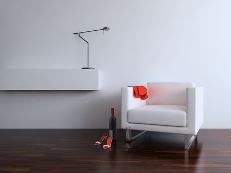 White leather Chair with Lamp to face a blank wall