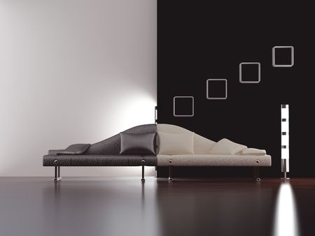 Modern stylish couch to face a blank white and black wall - front view Standard-Bild