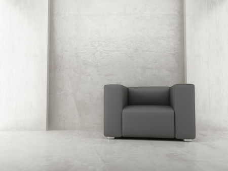 Modern leather armchair to face a blank wall - front view Standard-Bild