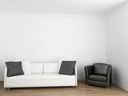 White Couch and black armchair to face a blank wall Standard-Bild