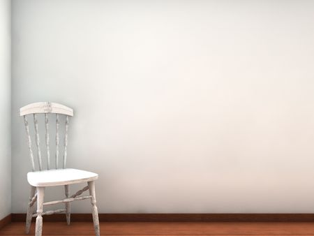 White Chair to face a blank wall