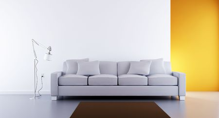 Living Room Setting - white couch to face a blank white wall