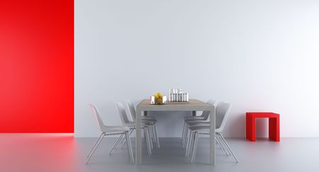 Four Chairs an table to face a white blank wall, with red rack