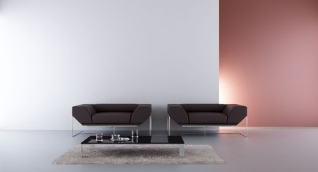 two armchair to face a blank wall Standard-Bild