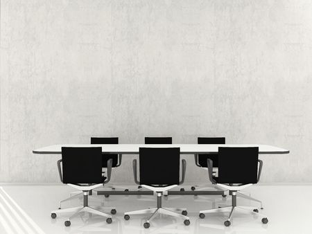 Many Chairs and table to face a blank wall