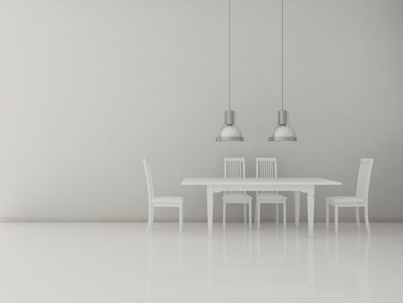 White Chairs and table to face a blank wall Standard-Bild