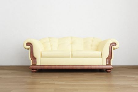Couch to face a blank wall Standard-Bild