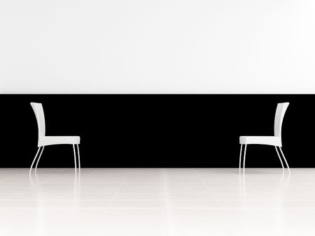 Abstract scene - Two White Chair to face a blank wall photo