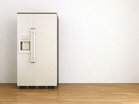 White refrigerator to face a blank wall photo