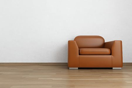Brown Leather Armchair to face a blank wall