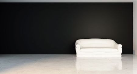 White Couch to face a blank wall