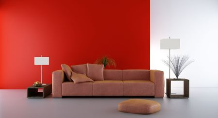 Living Room Setting - couch to face a blank red wall photo