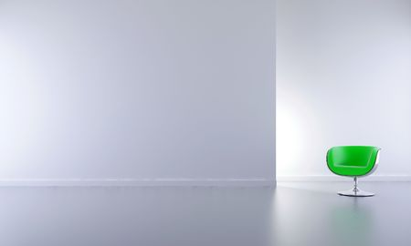 Green Chair to face a blank wall