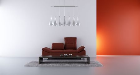 Living Room Setting - leather couch to face a blank wall