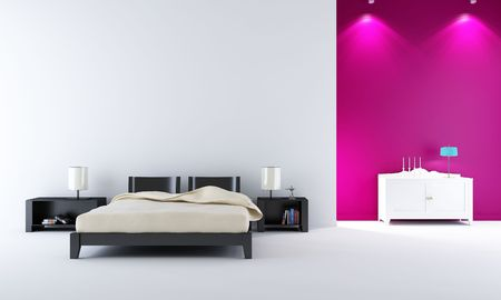 modern bedroom setting - with bed and rack Standard-Bild