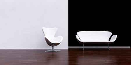 White Chair and sofa to face a blank black wall photo