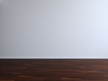 text room: Blank Room and Wall - Blank white wall with parquet Stock Photo