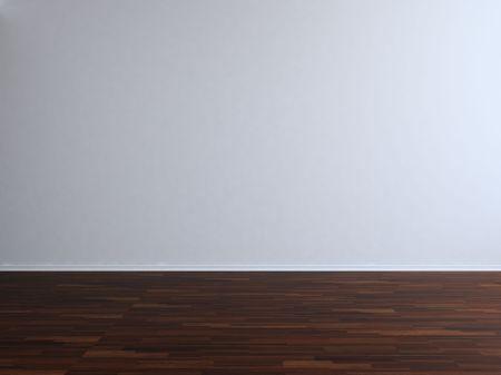 Leere Raum und Wand - leere weiße Wand mit Parkett
