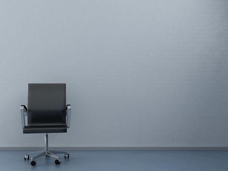 빈 벽을 얼굴에 검은 사무실의 자 스톡 콘텐츠