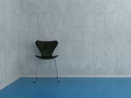 Modern black Chair to face a blank wall photo