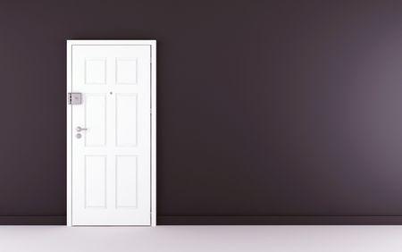 Blank black wall with white door on left side Standard-Bild
