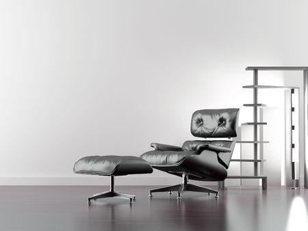 modern leather armchair to face a blank wall Standard-Bild