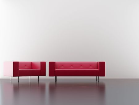 Modern red Couch group to face a blank wall photo