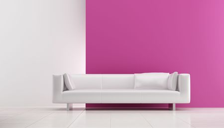 Modern white leather Couch to face a blank pink wall Standard-Bild