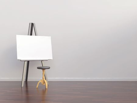 Paperboard with atool  to face a blank white wall photo
