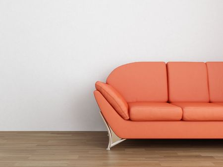 Orange leather Couch to face a blank white wall