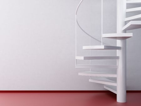 spiral staircase and red floor