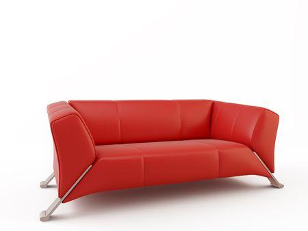 red sofa: red leather couch - three seater