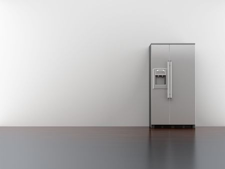 text room: fridge on blank white wall