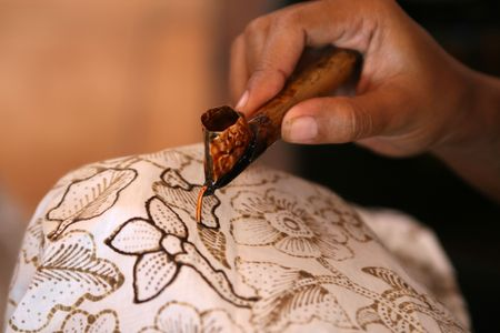 Beautiful Batik Painting on a white cloth