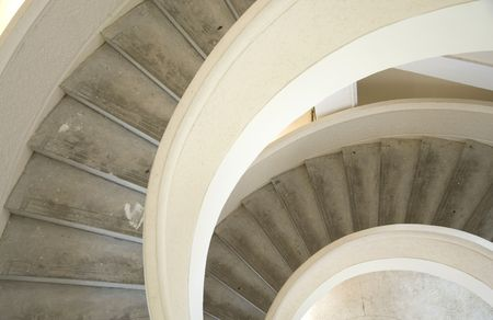 Close up shot of a spiral staircase. photo