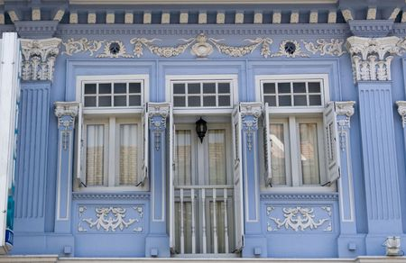 Close up shot of sa blue historic architecture - Shop houses in Singapore Joo Chiat area. photo