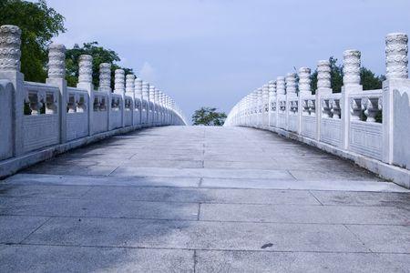 Photo of white bridge in an Asian garden Stock Photo - 5319414