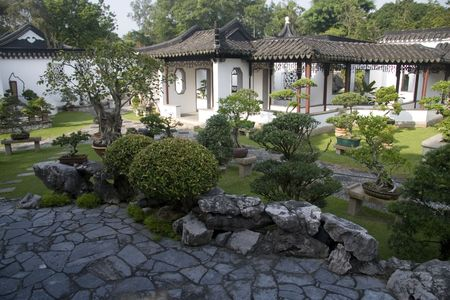 Shot of a traditional chinese style garden with bonsai, building and stone walk path. Stock Photo - 5404959