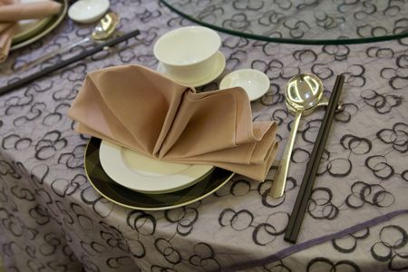 A set of crockery at a chinese restaurant. photo