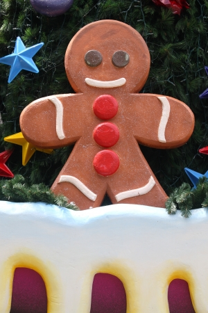 A Giant fake Gingerbread Man on the Christmas tree Stock Photo - 14487482