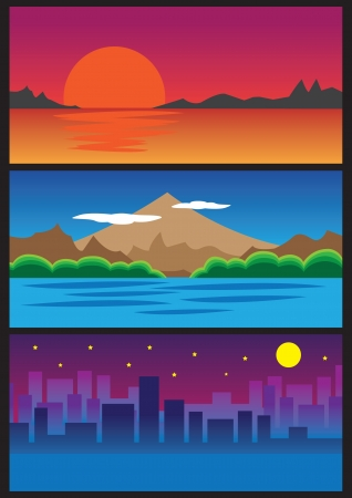 moody sky: Three landscape view  Sunrise, mountain and city night