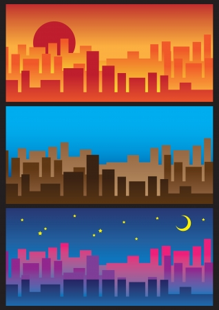 City Skyline  From sunrise to the night Stock Vector - 14487552