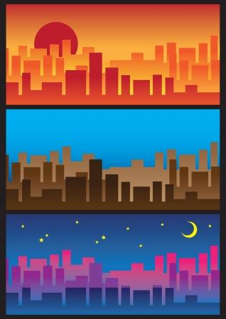 horizon over land: City Skyline  From sunrise to the night