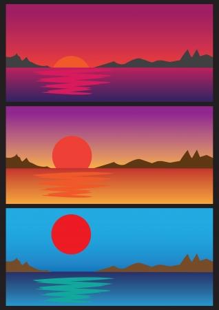 moody sky: Rural Sunrise over the lake horizon