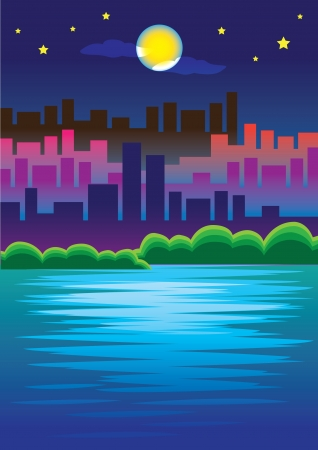 lake district: Night view in the city  With moonlight reflected on the water on the lake  Illustration